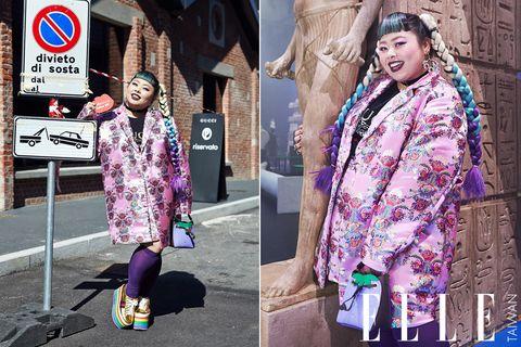 Street fashion, Clothing, Purple, Pink, Fashion, Textile, Outerwear, Design, Costume, Magenta,