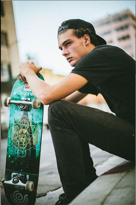 Cap, Standing, Elbow, Cool, Skateboard, Street fashion, Denim, Skateboarding Equipment, Skateboard deck, Longboard,