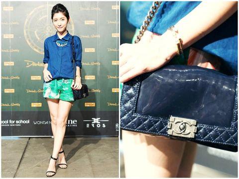 Blue, Collar, Sleeve, Dress shirt, Textile, Denim, Style, Bag, Pattern, Street fashion,