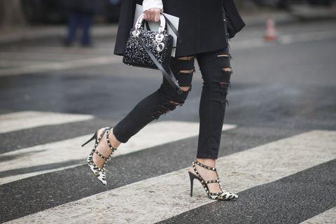 Clothing, Joint, Outerwear, Fashion accessory, Street fashion, Style, Bag, Sandal, Pattern, Fashion,