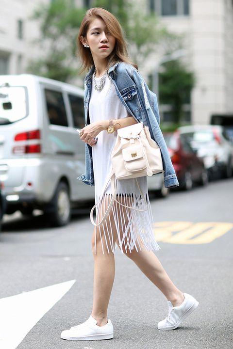 Clothing, Road, Sleeve, Human leg, Street, Bag, Style, Street fashion, Fashion, Luggage and bags,