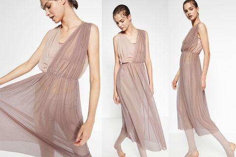 Skin, Sleeve, Shoulder, Joint, Dress, Standing, Waist, One-piece garment, Formal wear, Style,