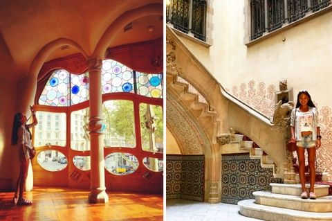 Stairs, Interior design, Arch, Paint, Visual arts, Arcade, Stained glass,