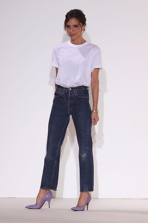 Clothing, White, Jeans, Fashion model, Denim, Fashion, Waist, Shoulder, Standing, Leg,