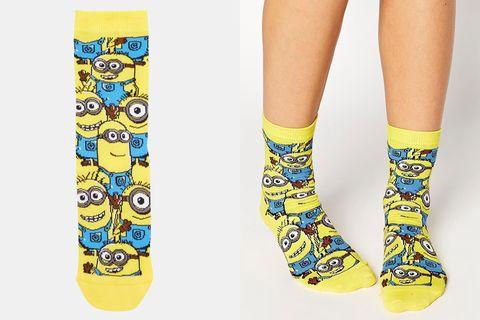 Yellow, Human leg, Style, Pattern, Fashion, Calf, Aqua, Sock, Fashion design, Ankle,