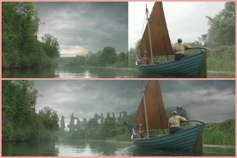 Boat, Atmospheric phenomenon, Sailboat, Vehicle, Sail, Watercraft, Water transportation, Bayou, Waterway, Lugger,