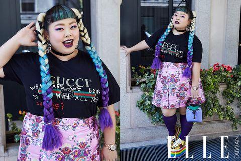 Street fashion, Clothing, Fashion, Pink, Headgear, Textile, Smile, Dress, Fashion accessory, Black hair,