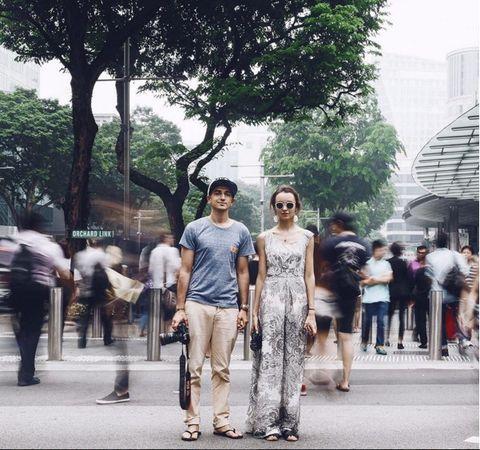 Human body, Standing, Tree, Street, Tourism, Pedestrian, Street fashion, Urban area, Temple, Walking,