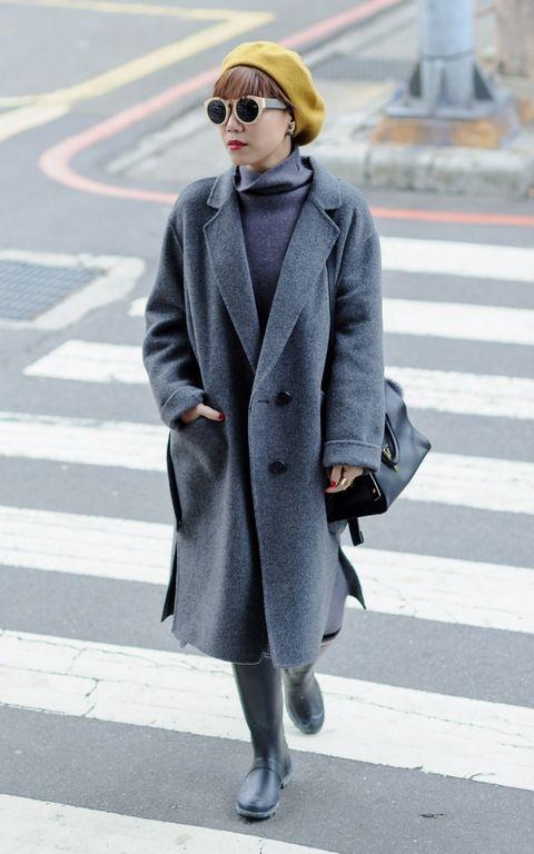 Eyewear, Coat, Road, Pedestrian crossing, Sleeve, Infrastructure, Textile, Outerwear, Street, Sunglasses,