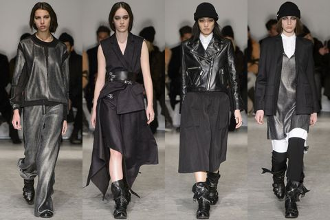 Clothing, Outerwear, Hat, Style, Fashion, Fashion model, Black, Leather, Fashion show, Fashion design,