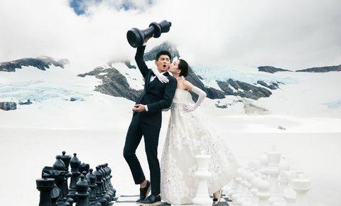 Trousers, Human body, Winter, Dress, Coat, Suit, Snow, Glacial landform, Ice cap, Wedding dress,
