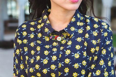 Yellow, Sleeve, Pattern, Street fashion, Fashion, Neck, Day dress, Button, Pattern, Blouse,