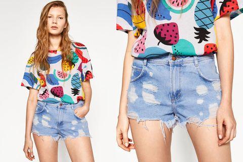 Clothing, Blue, Denim, Sleeve, Textile, jean short, Jeans, Pattern, Style, Shorts,