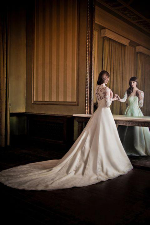 Clothing, Dress, Shoulder, Textile, Gown, Formal wear, Bridal clothing, Flooring, Wedding dress, Fashion,
