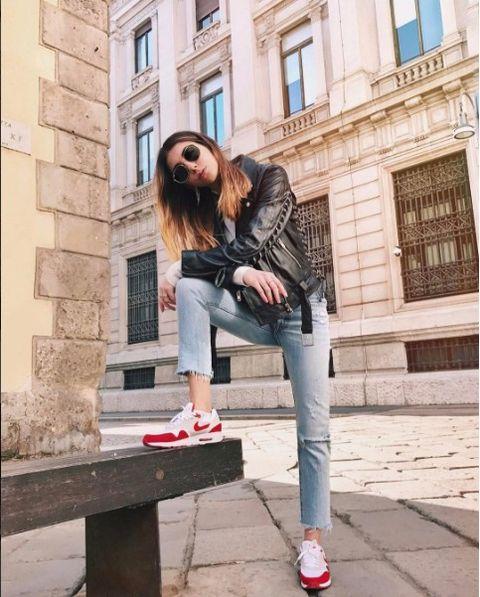 Clothing, White, Jeans, Street fashion, Denim, Footwear, Fashion, Jacket, Snapshot, Shoe,
