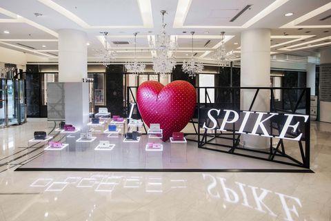 Product, Pink, Interior design, Building, Ceiling, Floor, Architecture, Room, Balloon, Design,