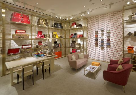 Lighting, Interior design, Room, Floor, Ceiling, Couch, Shelf, Furniture, Shelving, Table,