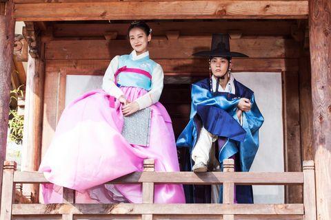 Hat, Formal wear, Purple, Gown, Costume, Tradition, Costume design, Victorian fashion, Makeover, Fashion design,