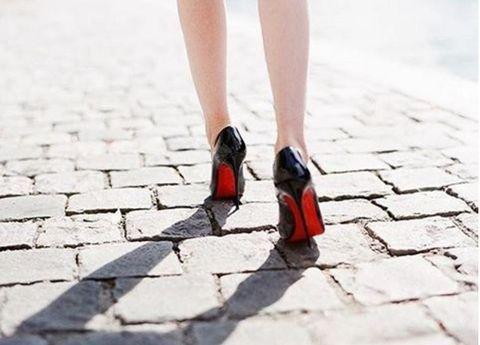 Footwear, Shoe, Human leg, Red, Sandal, Carmine, Black, Foot, Street fashion, High heels,
