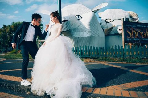 Clothing, Trousers, Coat, Dress, Photograph, Bridal clothing, Happy, Suit, Formal wear, Gown,