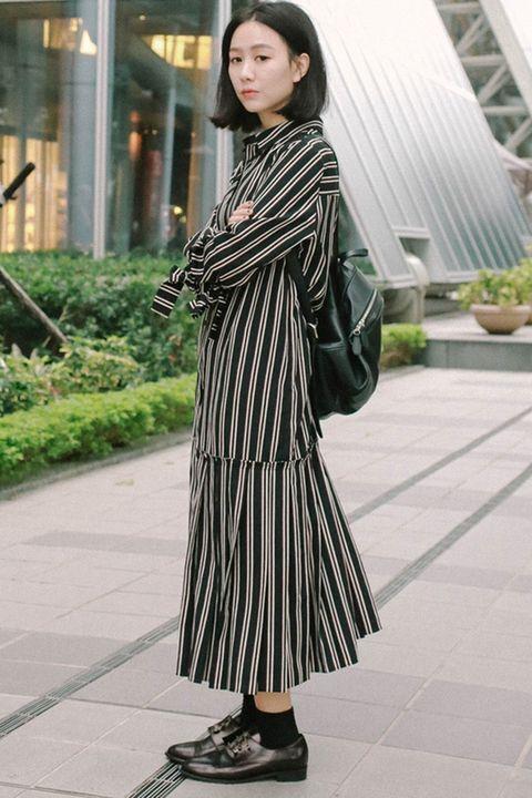 Sleeve, Style, Street fashion, Pattern, Fashion model, Black hair, One-piece garment, Day dress, Model, Fashion design,