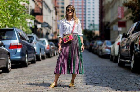 Clothing, Road, Street, Automotive tail & brake light, Bag, Street fashion, Style, Pattern, Sunglasses, Magenta,