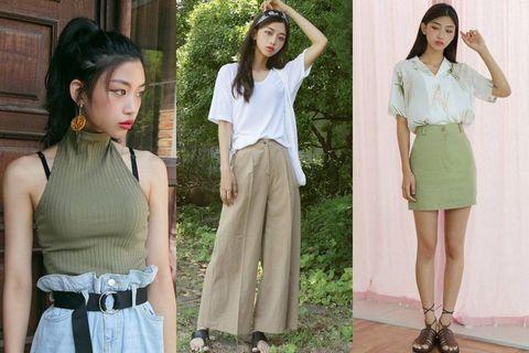 Clothing, White, Green, Fashion, Waist, Fashion model, Dress, Beige, Neck, Belt,