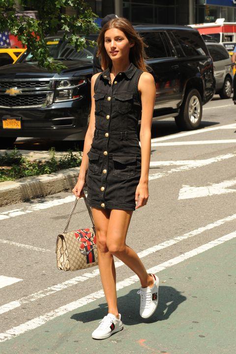 Clothing, Street fashion, White, Fashion, Snapshot, Footwear, Dress, Leg, Street, Shoe,