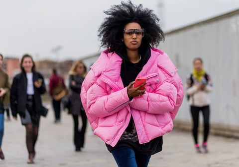 Clothing, Human, Leg, Winter, Jacket, Sleeve, Trousers, Textile, Outerwear, Pink,