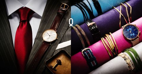 Watch, Analog watch, Fashion, Magenta, Everyday carry, Strap, Bracelet, Watch accessory, Tan, Material property,