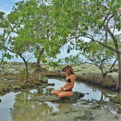 Body of water, Nature, Branch, Swimwear, Bank, Wetland, Reflection, Thigh, Bikini, Lake,