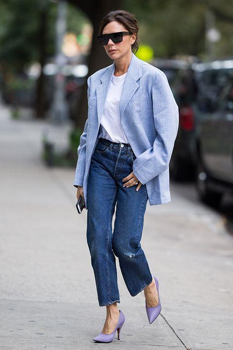 Clothing, Jeans, Denim, Street fashion, Fashion, Outerwear, Blazer, Footwear, Shoe, Suit,