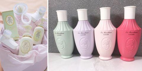 Liquid, Product, Fluid, Bottle, Lavender, Grey, Peach, Cosmetics, Label, Glass bottle,