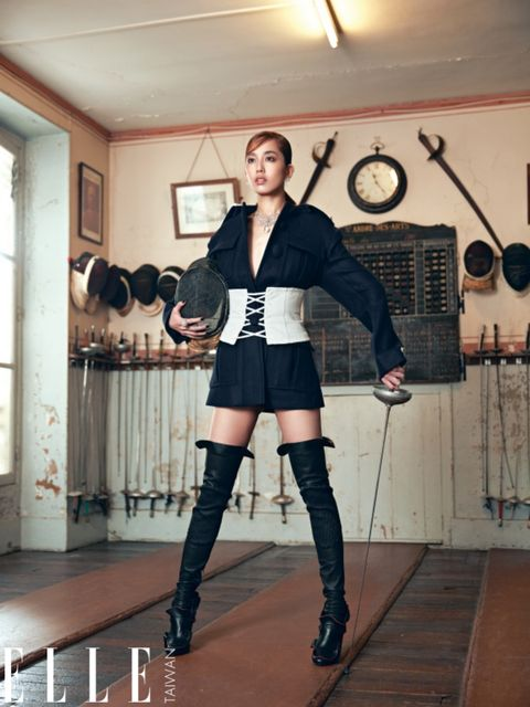 Boot, Knee-high boot, Knee, Thigh, Riding boot, Costume, Wall clock, Clock, Tights, Glove,