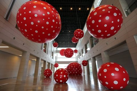 Pattern, Red, Interior design, Ceiling, Decoration, Carmine, Lighting accessory, Sphere, Hall, Circle,