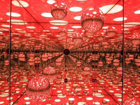 Red, Ceiling, Interior design, Decoration, Light fixture, Lighting accessory, Ceiling fixture, Interior design, Hall, Sphere,