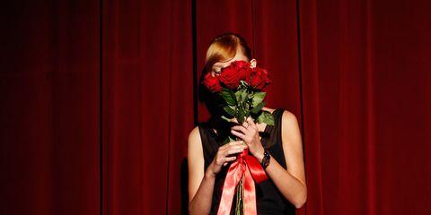 Red, Dress, Petal, Cut flowers, One-piece garment, Day dress, Rose family, Flower Arranging, Bouquet, Rose,