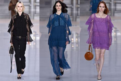 Fashion model, Fashion, Clothing, Fashion show, Blue, Runway, Electric blue, Jeans, Denim, Fashion design,