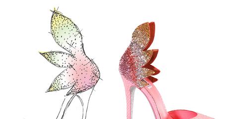 Pink, Magenta, Sandal, Basic pump, Dancing shoe, High heels, Fashion design, Feather, Foot, Natural material,