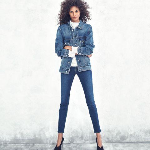 Clothing, Blue, Sleeve, Denim, Shoulder, Textile, Shoe, Standing, Joint, Outerwear,