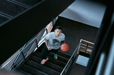 Stairs, Standing, World, Photography, Flash photography, Snapshot, Ball, Sneakers, Handrail,