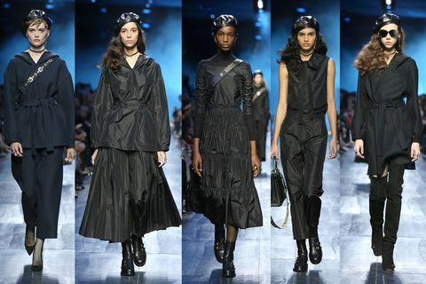 Fashion model, Fashion, Runway, Fashion show, Fashion design, Human, Outerwear, Gothic fashion, Event, Winter,
