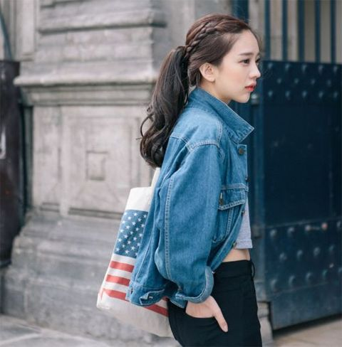 Clothing, Sleeve, Shoulder, Denim, Bag, Outerwear, Collar, Style, Street fashion, Fashion,