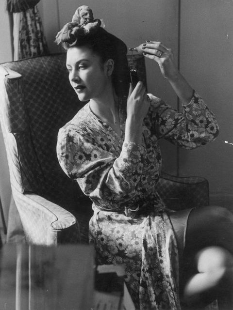 Hairstyle, Style, Curtain, Vintage clothing, Linens, Long hair, Bun, Makeover, Window treatment, Chignon,