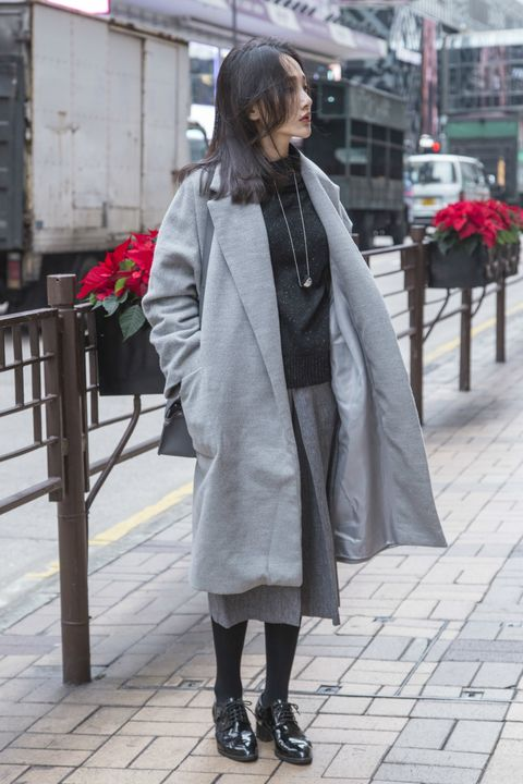 Clothing, Textile, Outerwear, Coat, Style, Street fashion, Street, Grey, Fur, Overcoat,