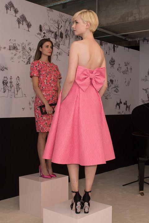 Clothing, Dress, Shoulder, Human leg, Joint, Pink, One-piece garment, Style, Day dress, Pattern,