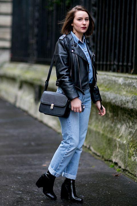 Clothing, Sleeve, Human body, Textile, Collar, Joint, Bag, Outerwear, Denim, Street fashion,