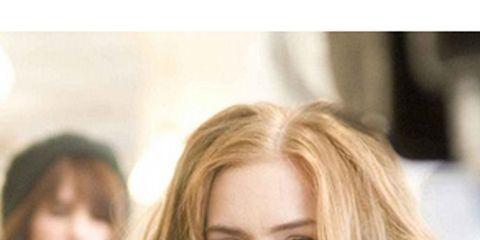 Lip, Finger, Eye, Hairstyle, Eyebrow, Hand, Purple, Eyelash, Nail, Mobile phone,
