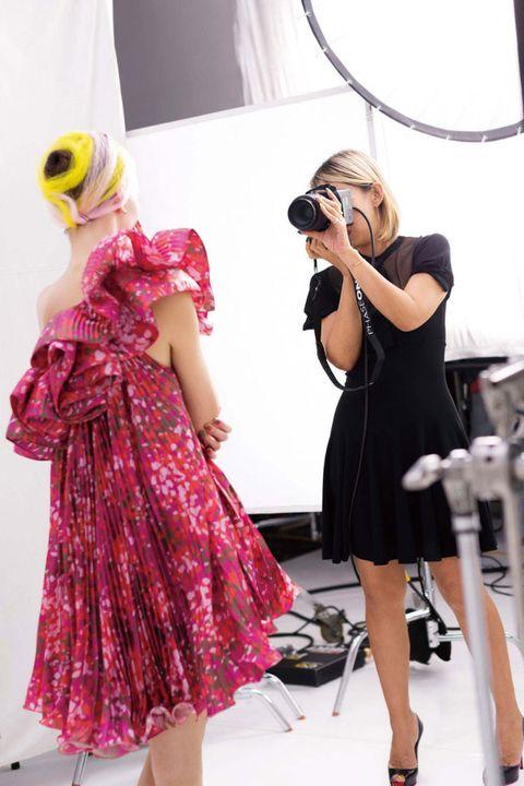 Dress, Fashion accessory, Magenta, Fashion, Bag, One-piece garment, Singing, Day dress, Design, High heels,