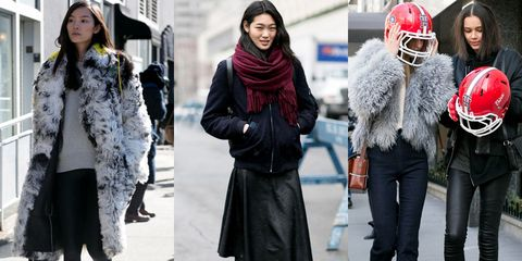 Clothing, Footwear, Leg, Winter, Textile, Helmet, Outerwear, Pattern, Style, Street fashion,